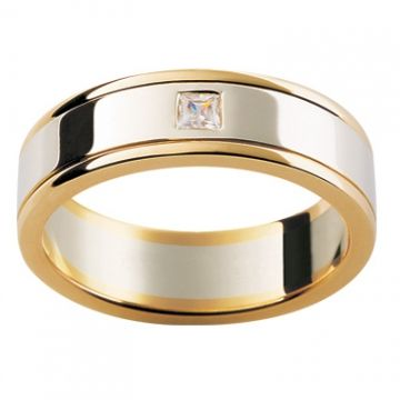 18ct Two Toned Diamond Wedding Ring details desc: 18ct Yellow and White Gold mens wedding ring with a princess cut diamond drop set in the centre of the ring. This style can be made in white gold, yellow gold, rose gold and platinum.