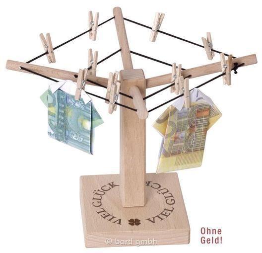 Geld-Wäschespinne, kleine Wäschespinne aus Holz mit Aufdruck Viel Glück 108384