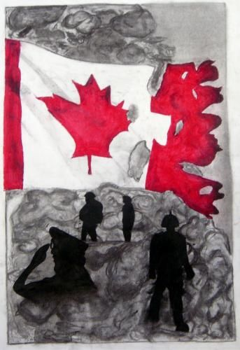 Use of color to create tone: red/white against charcoal background. Soldier clip art silhouettes.