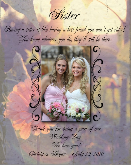 Sister wedding gift 8x10 framed by UniquePhotique on Etsy, $35.00