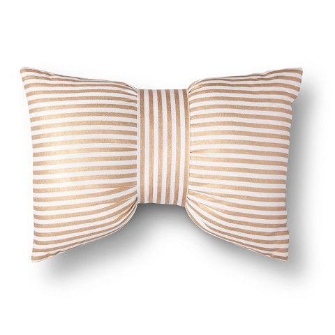 Xhilaration® Metallic Stripe Bow Decorative Pillow - Gold/White (Square) kate spade-esque bow pillow