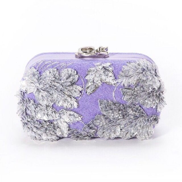 Susan C Star Felt Lilac Transparent Leaves  clutch