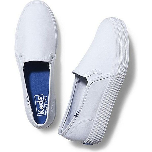Keds TRIPLE DECKER ($55) ❤ liked on Polyvore featuring shoes, sneakers, white, white shoes, slip on sneakers, slip-on sneakers, keds and white slip on sneakers