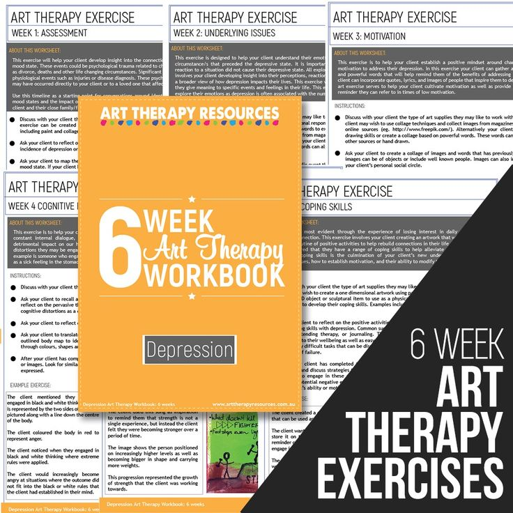 The Art Therapy Depression Workbook includes Art Therapy Exercises based on a 6-week Program. Includes instructions and sample images.