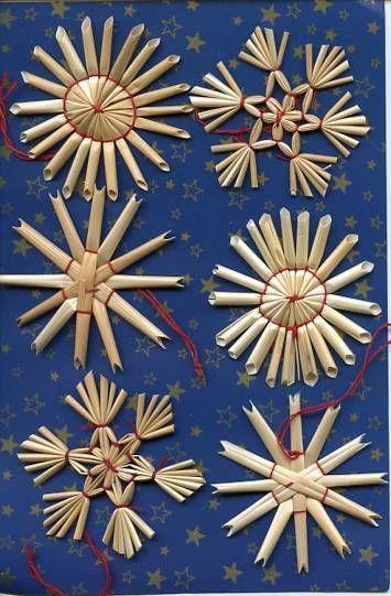 Scandinavian Swedish Straw Christmas Ornaments 6 pc card #99