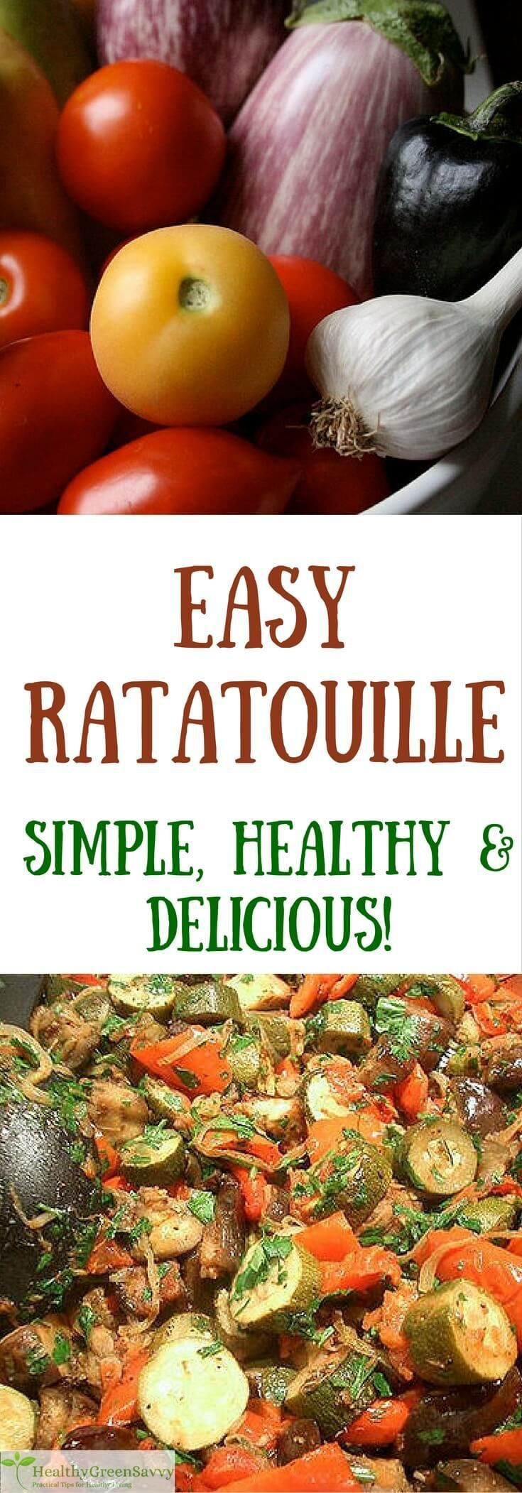 Easy ratatouille recipe! Pared-down ratatouille recipe for cooks in a  hurry -- healthy, quick, and delicious! Click to read more or pin to save for later!