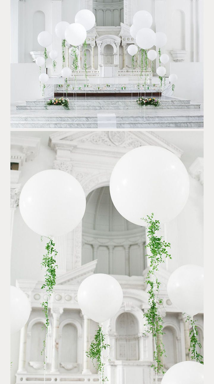 white balloons with touches of greens- elegant balloon wedding ceremony decor ~  we ❤ this! moncheribridals.com                                                                                                                                                                                 More