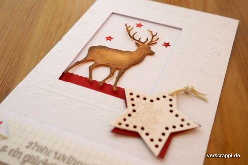 Weihnachtskarte-Weihnachten-Christmas-Xmas-Karte-Card-Rentier-weiß-warm-weinrot-rot-Sterne-Passepartout-Detail