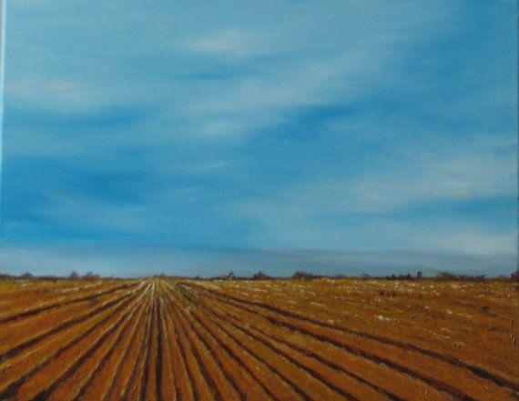 Original Oil Painting Freshly Plowed 16 x 20 by DenesArtStudiosInc