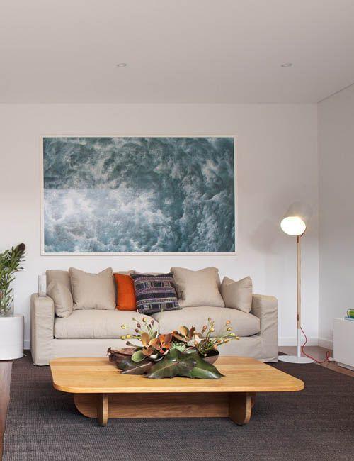 BONDI BEACH PAD | alwill  #interiors #wood #artwork #pendant #livingroom