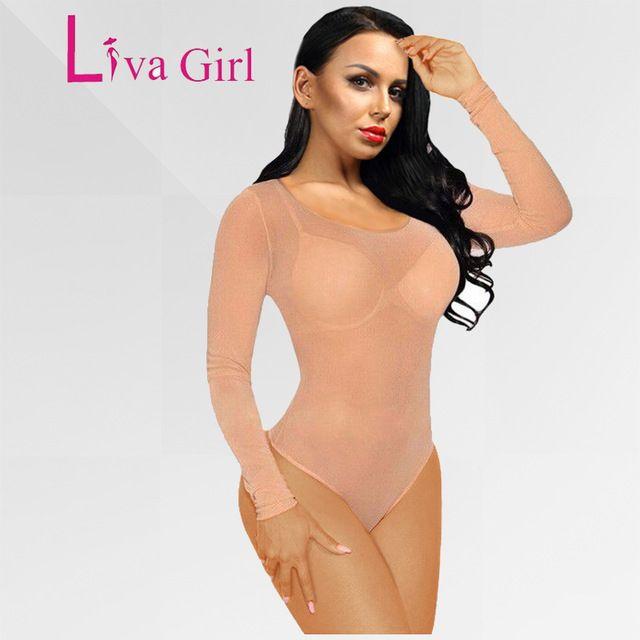 Lucky Deal $7.75, Buy Nude Mesh Bodysuit Rompers Bodycon Jumpsuit Long Sleeve Nude Turtleneck Bodysuits Transparent Women Sexy Body Femme Combinaison