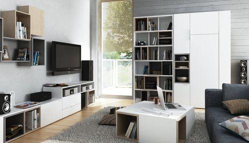 Regał Biały z Półkami, Dzielony z Wytrzymałej Płyty - Regały - Typy Mebli - Meble VOX - Meble VOX