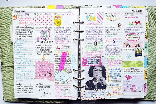A5 Filofax full of colour and notes.