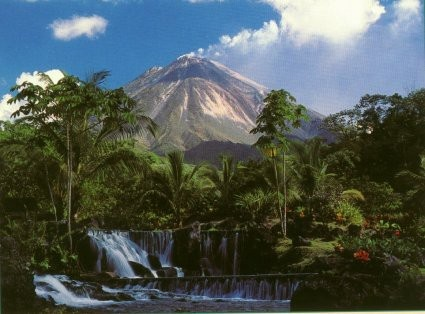 El Tabacon in Costa Rica with volcano Arenal in the background