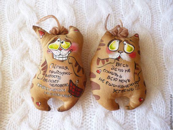 Купить Кофейные позитивчики -котики - коричневый, позитивный подарок, игрушка ручной работы, зверята, котик: