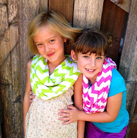 Girls Chevron Infinity Scarves, Toddler Scarf, Cotton/Rayon Blend, Infinity Scarf! Black,White,Mustard,Blue,Aqua,Green,Gray,, Cowl-neck