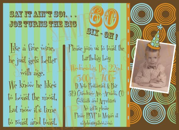 40 or 50 or 60 or 70 th cutstom photo Birthday invitation on Etsy, $20.00