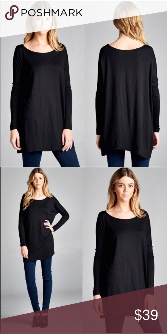 ♡♡ Loose Fit Tunic Loose fit black tunic top.  95%rayon  5%spandex  Sizes S/M & L/XL April Spirit Tops Tees - Long Sleeve