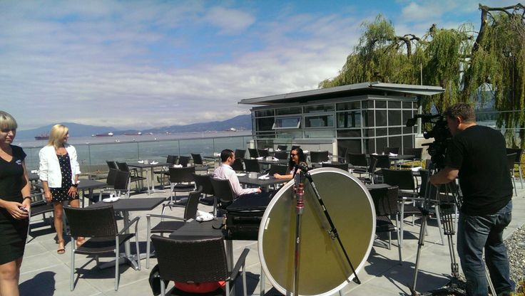 Some of the RTOWN team filming a commercial with The Boathouse restaurants in Vancouver, BC