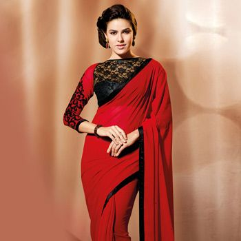Red Faux Georgette Saree with Blouse