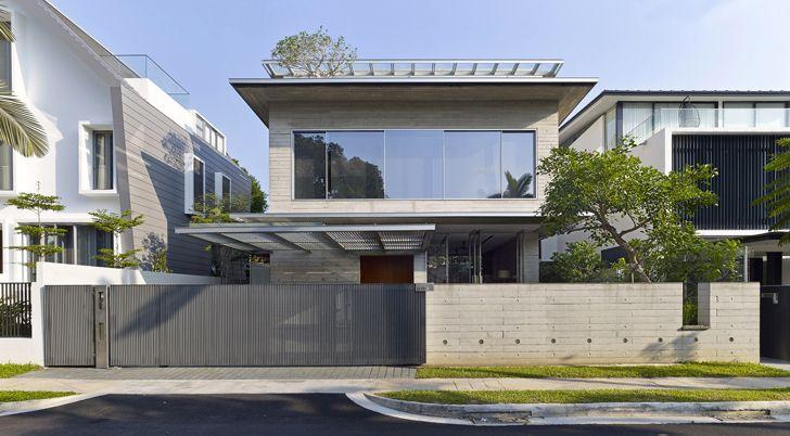 Бетонный дом в Сингапуре, утопающий в тропической зелени - Дизайн интерьеров…