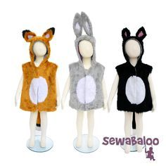 Sew beautiful and easy animal costumes for your child, perfect for play, dressing up and school shows.  The fully lined hooded waistcoat is generously sized to allow plenty of room for play and growth.  Digital download.  Sizes S, M & L included