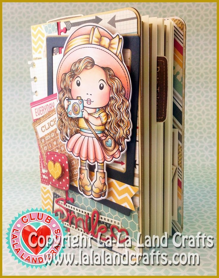Mini Album by Irina Blount featuring the Club La-La Land Crafts (November) exclusive Marci with Camera Rubber Stamp  (includes Sentiments), Photo Elements Rubber Stamp and these Dies - Photo Elements Set, Notebook Border and Smile Word :-)  Club La-La Land Crafts subscription details are here - http://lalalandcrafts.com/Club_La-La_Land_Crafts.html    Coloring details and more Design Team inspiration here - http://lalalandcrafts.blogspot.ie/2014/11/club-la-la-land-crafts-november-2014.html