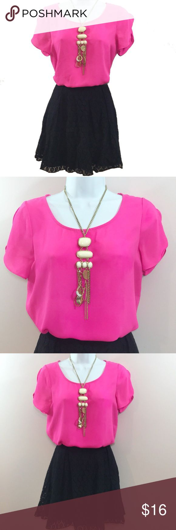 """Hot Pink Short Sleeve Top Hot Pink Short Sleeve Top Size Small Total length is 23.5"""" Across chest measures 34.5"""" Sis Sis Tops Blouses"""