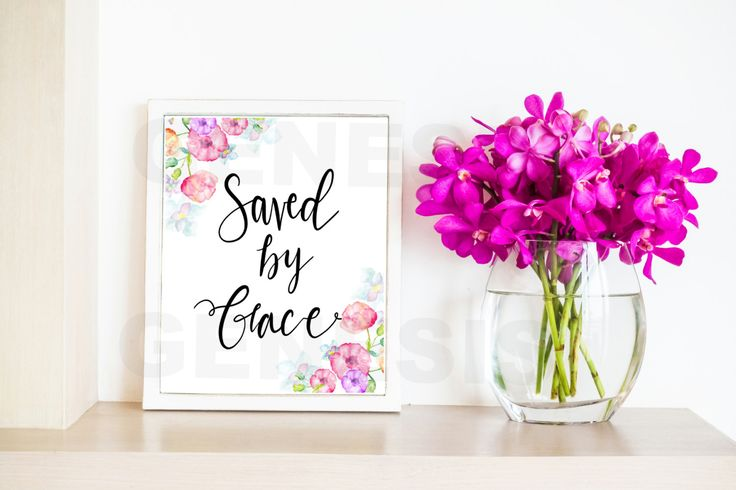"""Saved by Grace Wall Decor! 8x10 Hand-drawn beautiful wall art piece  Includes: 🌸8x10 quote, Saved by Grace 🌸PNG format 🌸Transparent background with black text and watercolor flowers  NEED THIS IN A DIFFERENT SIZE? That can be done- Message me today! 💟Why $5.80? Because Romans 5:8 is my favorite verse of scripture: """"But God demonstrates His own love toward us, in that while we were still sinners, Christ died for us.""""  How to download:  1. Purchase this item. 2. After payment is confirmed…"""