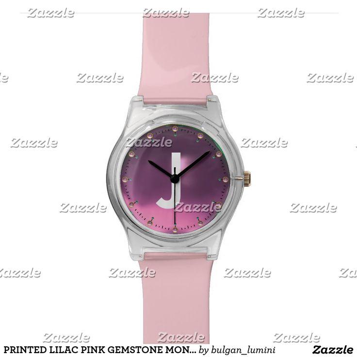 PRINTED LILAC PINK GEMSTONE MONOGRAM WRISTWATCH #gemstones #fashion #watch #accessory #gems #3d #geek #tech #jewel