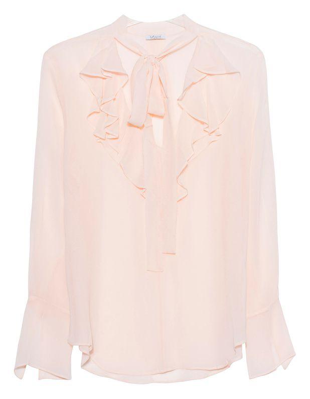 Schluppen-Seidenbluse Die schmal geschnittene rosafarbene Bluse ist aus feiner Seide gefertigt und kommt im transparenten Design mit eleganter Schluppe und Rüschen.  Ein echtes Highlight - perfekt für die nächste Dinner-Party!