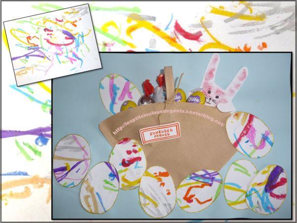 Bricolage enfants pour Pâques. Un panier, un lapin et des œufs...