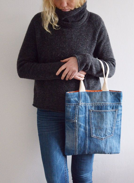 Denim handtas met katoenen voering buiten zak / / gerecycled