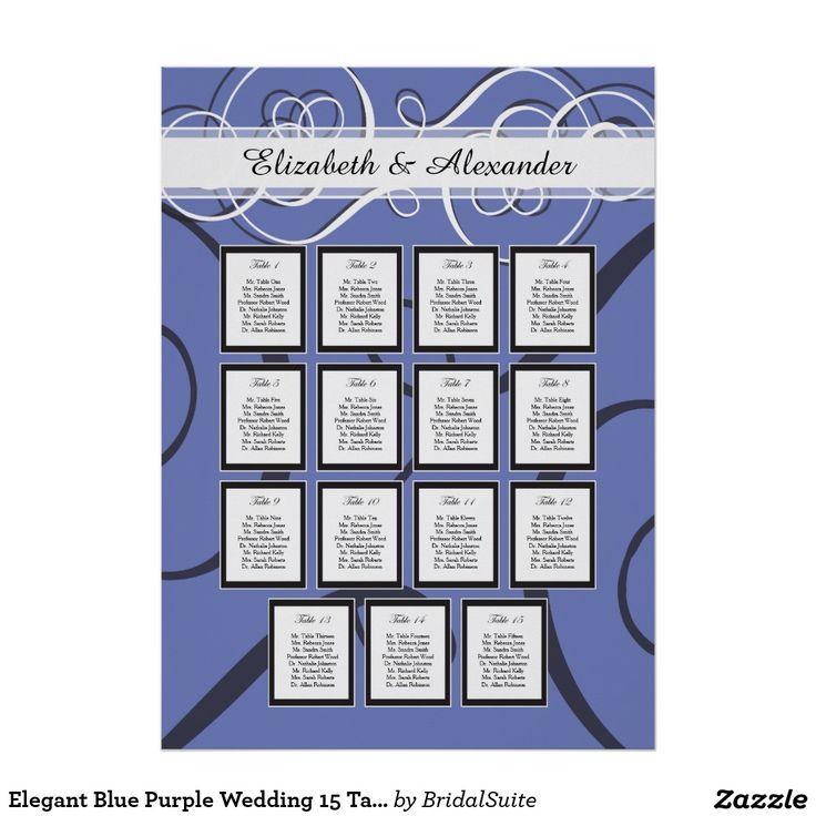 Elegant Blue Purple Wedding 15 Table Seating Chart Poster
