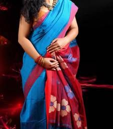Buy BLUE and MAROON hand woven cotton silk saree with blouse hand-woven-saree online