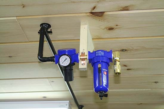 Details for a compressed air system in a garage and workshop. Details include filters and regulators along with safety considerations.