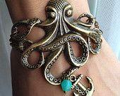 Octopus Bracelet with Anchor charm Bracelet - Antiqued Brass Vintage