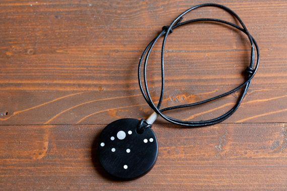 Aquila constellation pendant by BelisamaCrafts #Aquilla #constellation #ebony #nacre #pendant #jewelry #jewellery