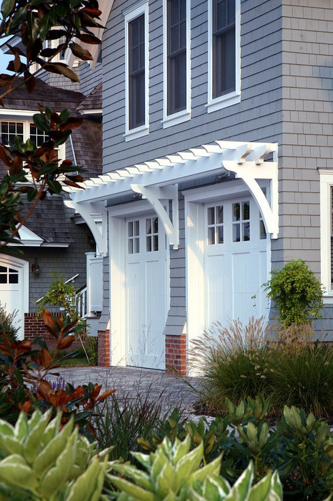 Garage Ideas. Shingle Home Garage Trim. Garage Door Trim. Garage Door Millwork. #GarageDoor Asher Associates Architects
