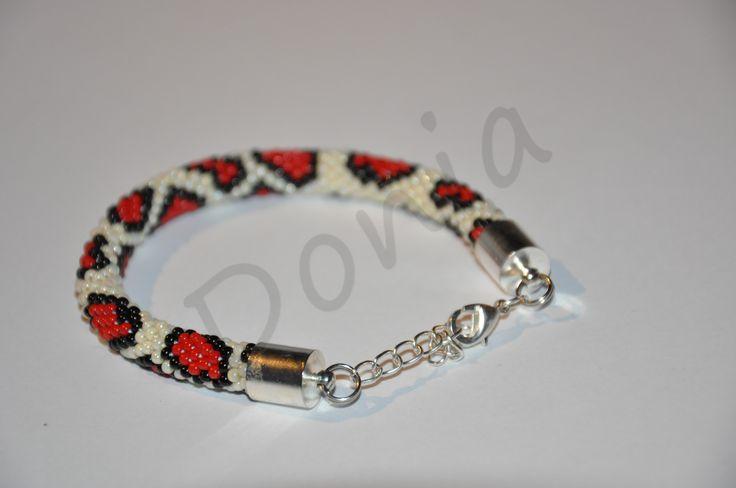 Bead Crochet Bracelet - panther pattern