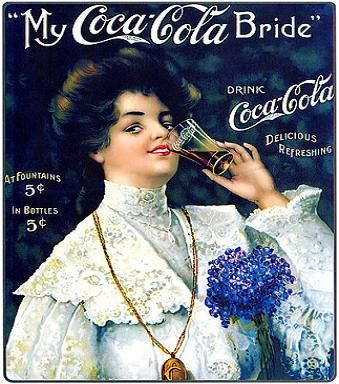 This vintage artwork from Coca-Cola is c. 1906 and is one of many titles for sheet-music. The artwork is called 'Juanita' by collectors, and many other titles were used, including Juanita, which brings a better price than others. Other titles include Rock Me to Sleep, The Palms, Ben Bolt, and My Old Kentucky Home: Vintage Posters, Cola Vintage, Cocacola, Coke Cola, Coca Cola Bride, Vintage Ads, Cola Ads, Vintage Advertising, Vintage Coca Cola