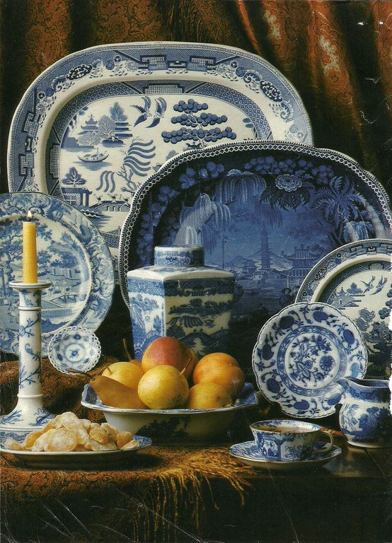 Still life of Blue and White China pieces by Ann Wardley