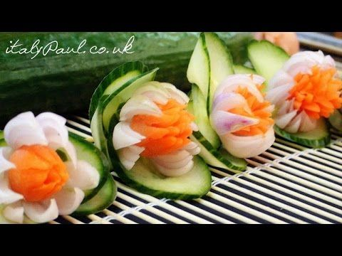 How to Make Carrot Onion Cucumber Flowers - Vegetable Carving Garnish - Food Decoration - YouTube