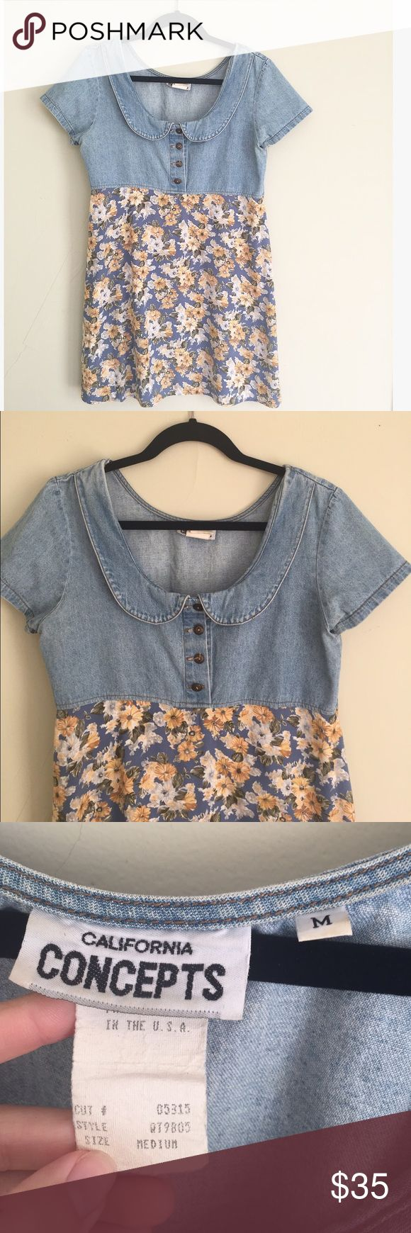 """Vintage Denim Floral Peter Pan Collar Dress This adorable vintage babydoll dress has a denim top with a Peter Pan collar and buttons. Cotton and rayon. 31.5"""" long, 18.5"""" pit to pit. No trades, offers welcome! Vintage Dresses"""