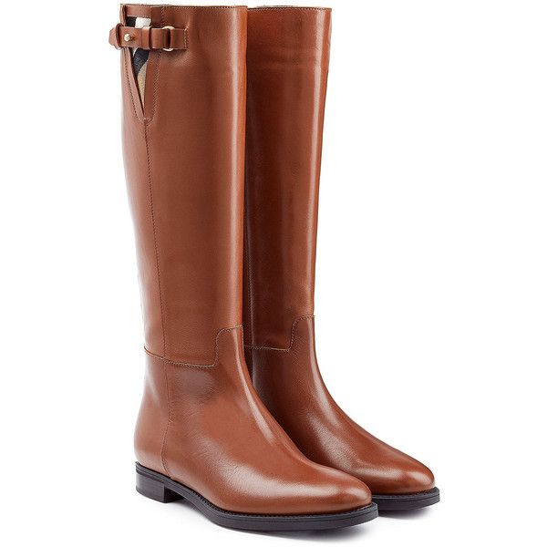 Burberry Shoes & Accessories Leather Knee Boots (707 AUD) ❤ liked on Polyvore featuring shoes, boots, brown, brown boots, brown riding boots, burberry boots, equestrian boots and riding boots