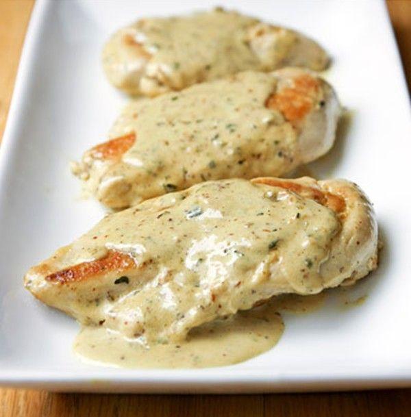 Varomeando: Pechugas de pollo con crema de mostaza