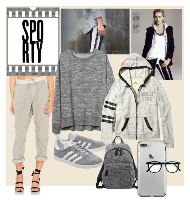 """""""shades of grey sporty"""" by oripandora on Polyvore featuring James Perse, Gap, Hollister Co., adidas Originals and Marc Jacobs"""