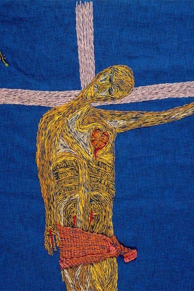 Cristo, embroidery, Violeta Parra (Chilean singer/artist/icon, saw this piece at the La Moneda cultural center)