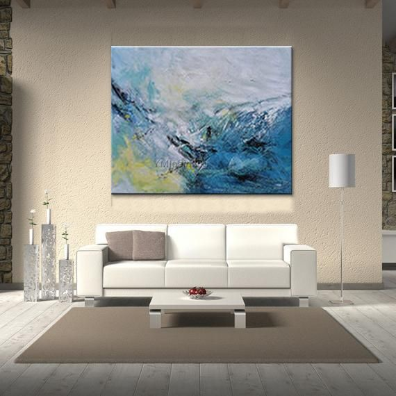 Abstract painting acrylic blue painting sea wave on canvas | Etsy