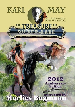 The Treasure In Silver-Lake - arguably May's most famous single novel; it depicts Old Firehand as May described him, young, tall, broad-shouldered, blond and blue-eyed, and Winnetou on a nameles black horse. The sunrise mood is created with yet another Tasmanian cloudscape.